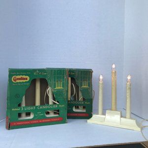 3 Gemlite Electric Christmas Window Candles 1960s